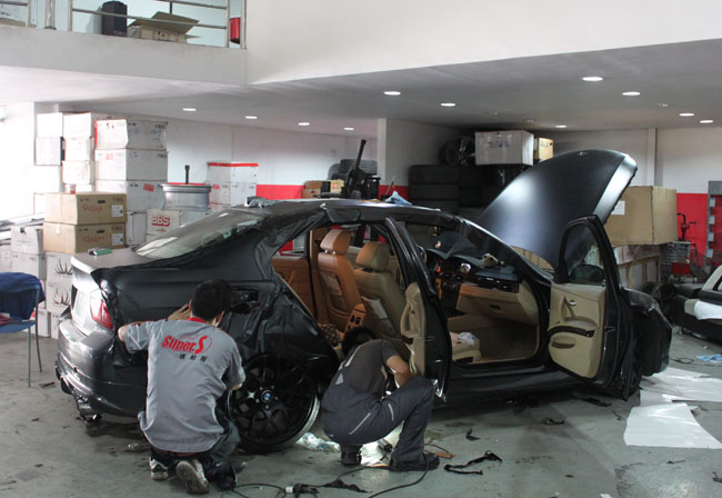 e90 320 亚光黑 案例鉴赏 杭州车世界汽车改装工厂 高清图片